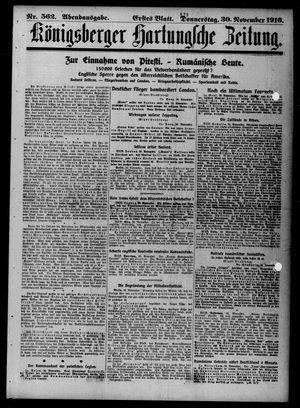Königsberger Hartungsche Zeitung vom 30.11.1916