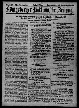 Königsberger Hartungsche Zeitung vom 22.11.1917