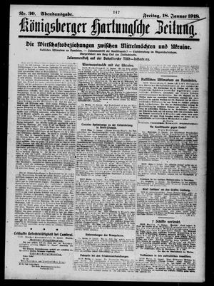 Königsberger Hartungsche Zeitung vom 18.01.1918