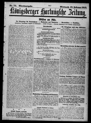 Königsberger Hartungsche Zeitung vom 13.02.1918