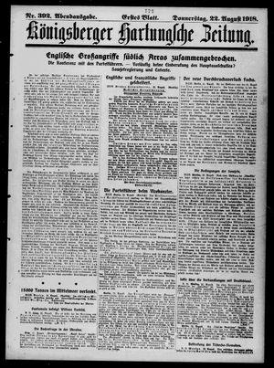 Königsberger Hartungsche Zeitung vom 22.08.1918