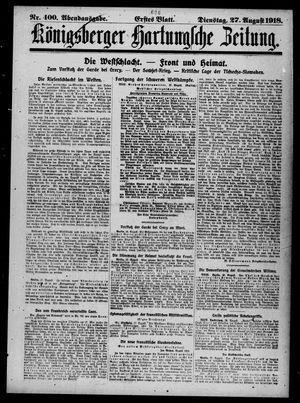 Königsberger Hartungsche Zeitung vom 27.08.1918