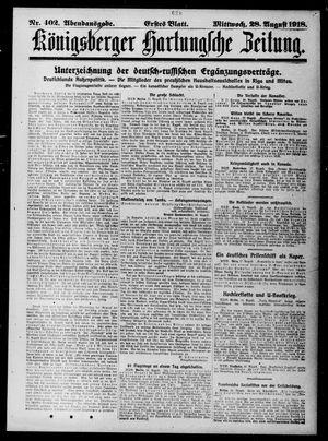 Königsberger Hartungsche Zeitung vom 28.08.1918