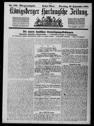 Königsberger Hartungsche Zeitung vom 10.09.1918