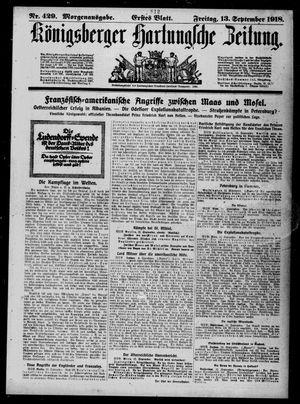 Königsberger Hartungsche Zeitung vom 13.09.1918