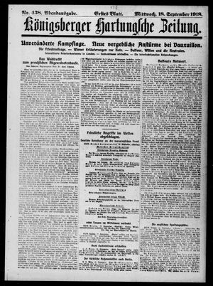 Königsberger Hartungsche Zeitung vom 18.09.1918