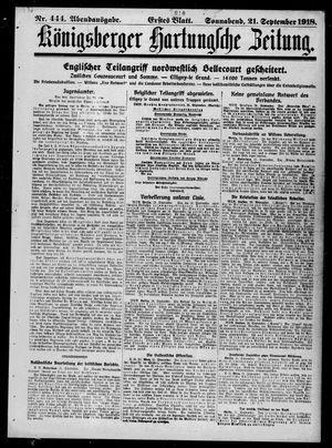 Königsberger Hartungsche Zeitung vom 21.09.1918