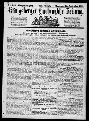 Königsberger Hartungsche Zeitung vom 22.09.1918