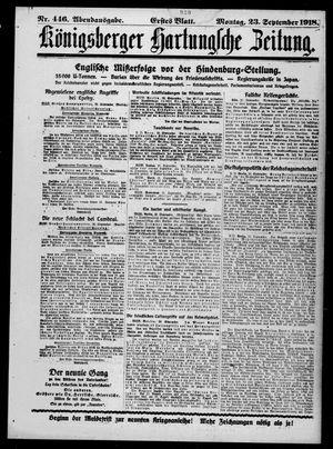 Königsberger Hartungsche Zeitung vom 23.09.1918
