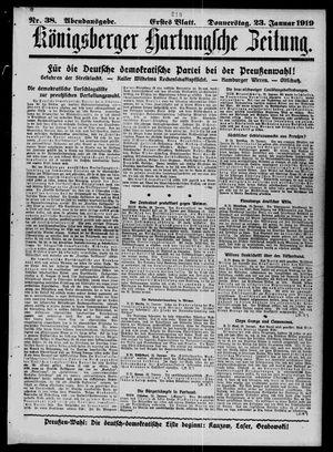 Königsberger Hartungsche Zeitung vom 23.01.1919