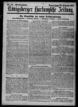 Königsberger Hartungsche Zeitung vom 13.02.1919