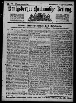 Königsberger Hartungsche Zeitung vom 15.02.1919
