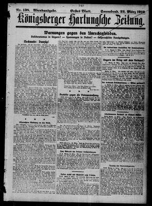 Königsberger Hartungsche Zeitung vom 22.03.1919