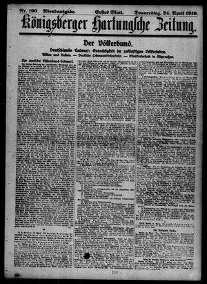 Königsberger Hartungsche Zeitung vom 24.04.1919