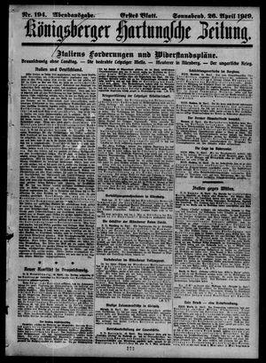 Königsberger Hartungsche Zeitung vom 26.04.1919