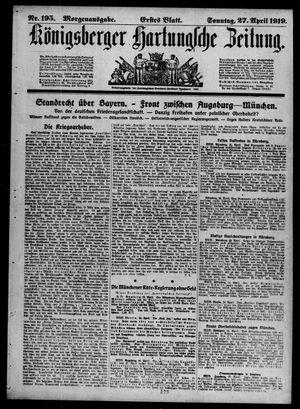 Königsberger Hartungsche Zeitung vom 27.04.1919