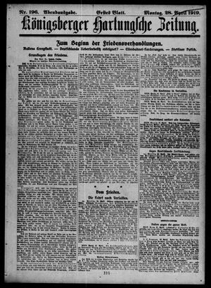 Königsberger Hartungsche Zeitung vom 28.04.1919