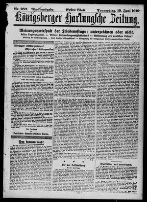 Königsberger Hartungsche Zeitung vom 19.06.1919