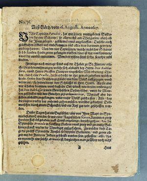 Bericht was sich zu anfang dieß itzt angehenden ... Jahres in Deutschlandt, Franckreich, Welschlandt, Böhmen, Ungern, Nederlandt und in andern örten hin unnd wieder zugetragen vom 16.08.1617