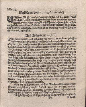 Bericht was sich zu anfang dieß itzt angehenden ... Jahres in Deutschlandt, Franckreich, Welschlandt, Böhmen, Ungern, Nederlandt und in andern örten hin unnd wieder zugetragen vom 30.07.1618