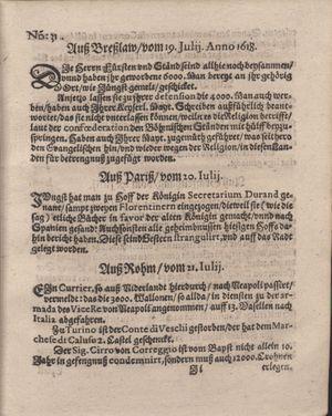 Bericht was sich zu anfang dieß itzt angehenden ... Jahres in Deutschlandt, Franckreich, Welschlandt, Böhmen, Ungern, Nederlandt und in andern örten hin unnd wieder zugetragen vom 13.08.1618