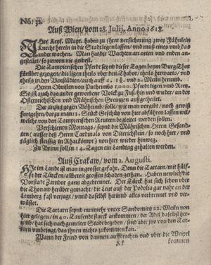 Bericht was sich zu anfang dieß itzt angehenden ... Jahres in Deutschlandt, Franckreich, Welschlandt, Böhmen, Ungern, Nederlandt und in andern örten hin unnd wieder zugetragen vom 20.08.1618