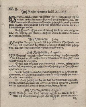 Bericht was sich zu anfang dieß itzt angehenden ... Jahres in Deutschlandt, Franckreich, Welschlandt, Böhmen, Ungern, Nederlandt und in andern örten hin unnd wieder zugetragen vom 27.08.1618