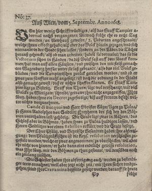 Bericht was sich zu anfang dieß itzt angehenden ... Jahres in Deutschlandt, Franckreich, Welschlandt, Böhmen, Ungern, Nederlandt und in andern örten hin unnd wieder zugetragen vom 24.09.1618