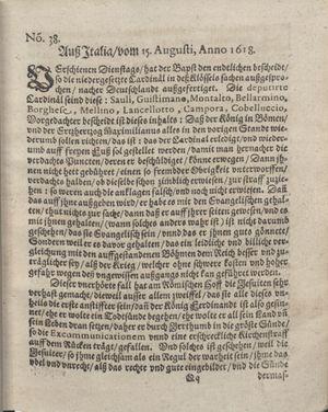 Bericht was sich zu anfang dieß itzt angehenden ... Jahres in Deutschlandt, Franckreich, Welschlandt, Böhmen, Ungern, Nederlandt und in andern örten hin unnd wieder zugetragen vom 01.10.1618