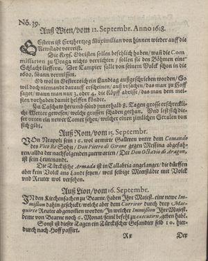 Bericht was sich zu anfang dieß itzt angehenden ... Jahres in Deutschlandt, Franckreich, Welschlandt, Böhmen, Ungern, Nederlandt und in andern örten hin unnd wieder zugetragen vom 08.10.1618