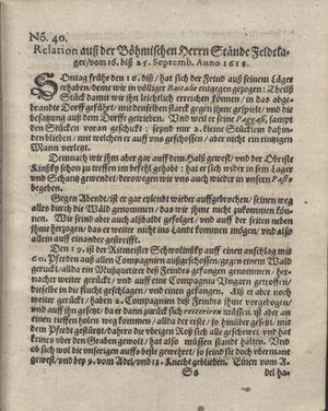 Bericht was sich zu anfang dieß itzt angehenden ... Jahres in Deutschlandt, Franckreich, Welschlandt, Böhmen, Ungern, Nederlandt und in andern örten hin unnd wieder zugetragen vom 15.10.1618