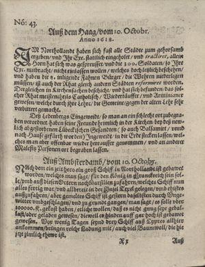 Bericht was sich zu anfang dieß itzt angehenden ... Jahres in Deutschlandt, Franckreich, Welschlandt, Böhmen, Ungern, Nederlandt und in andern örten hin unnd wieder zugetragen vom 05.11.1618