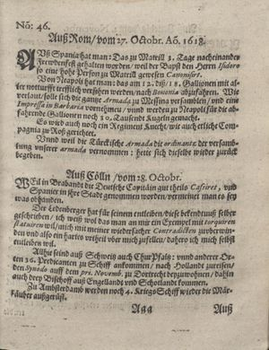 Bericht was sich zu anfang dieß itzt angehenden ... Jahres in Deutschlandt, Franckreich, Welschlandt, Böhmen, Ungern, Nederlandt und in andern örten hin unnd wieder zugetragen vom 26.11.1618