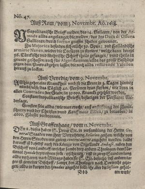 Bericht was sich zu anfang dieß itzt angehenden ... Jahres in Deutschlandt, Franckreich, Welschlandt, Böhmen, Ungern, Nederlandt und in andern örten hin unnd wieder zugetragen vom 03.12.1618