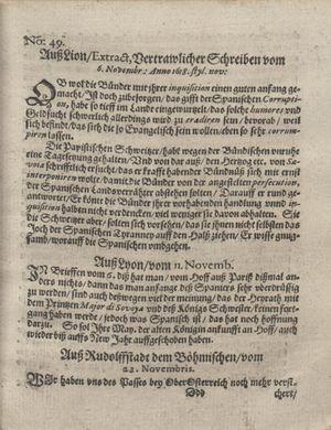 Bericht was sich zu anfang dieß itzt angehenden ... Jahres in Deutschlandt, Franckreich, Welschlandt, Böhmen, Ungern, Nederlandt und in andern örten hin unnd wieder zugetragen vom 17.12.1618