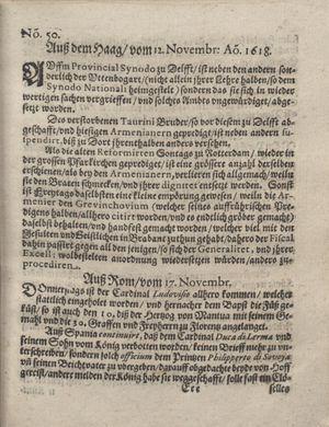 Bericht was sich zu anfang dieß itzt angehenden ... Jahres in Deutschlandt, Franckreich, Welschlandt, Böhmen, Ungern, Nederlandt und in andern örten hin unnd wieder zugetragen vom 24.12.1618