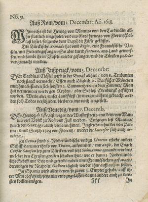 Bericht was sich zu anfang dieß itzt angehenden ... Jahres in Deutschlandt, Franckreich, Welschlandt, Böhmen, Ungern, Nederlandt und in andern örten hin unnd wieder zugetragen vom 31.12.1618