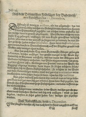 Zeitung auß Deutschlandt, Welschlandt, Franckreich, Böhmen, Hungarn, Niederlandt und andern Orten vom 07.01.1619