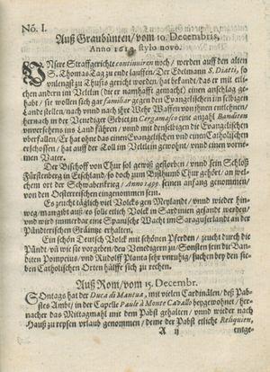 Zeitung auß Deutschlandt, Welschlandt, Franckreich, Böhmen, Hungarn, Niederlandt und andern Orten vom 14.01.1619