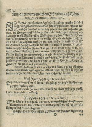 Zeitung auß Deutschlandt, Welschlandt, Franckreich, Böhmen, Hungarn, Niederlandt und andern Orten vom 21.01.1619