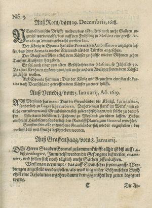 Zeitung auß Deutschlandt, Welschlandt, Franckreich, Böhmen, Hungarn, Niederlandt und andern Orten vom 28.01.1619