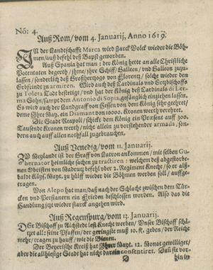 Zeitung auß Deutschlandt, Welschlandt, Franckreich, Böhmen, Hungarn, Niederlandt und andern Orten vom 04.02.1619