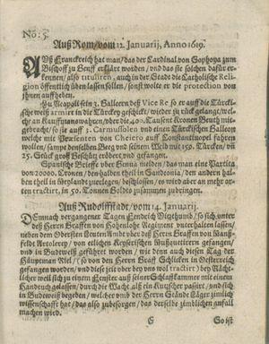Zeitung auß Deutschlandt, Welschlandt, Franckreich, Böhmen, Hungarn, Niederlandt und andern Orten vom 11.02.1619