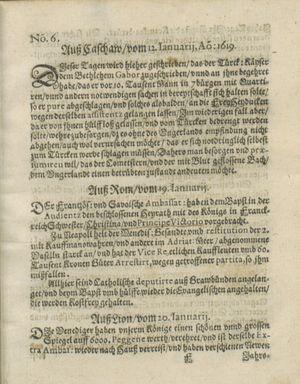 Zeitung auß Deutschlandt, Welschlandt, Franckreich, Böhmen, Hungarn, Niederlandt und andern Orten vom 18.02.1619