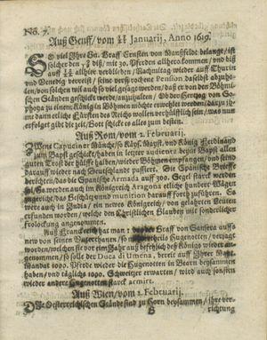 Zeitung auß Deutschlandt, Welschlandt, Franckreich, Böhmen, Hungarn, Niederlandt und andern Orten vom 25.02.1619