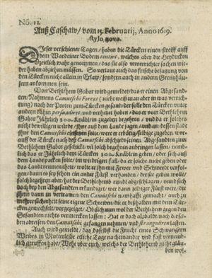 Zeitung auß Deutschlandt, Welschlandt, Franckreich, Böhmen, Hungarn, Niederlandt und andern Orten vom 25.03.1619