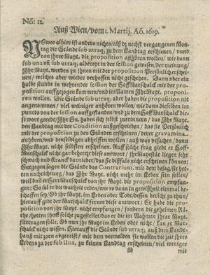 Zeitung auß Deutschlandt, Welschlandt, Franckreich, Böhmen, Hungarn, Niederlandt und andern Orten vom 01.04.1619