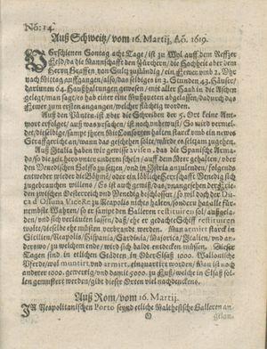 Zeitung auß Deutschlandt, Welschlandt, Franckreich, Böhmen, Hungarn, Niederlandt und andern Orten vom 15.04.1619