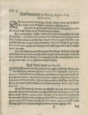 Zeitung auß Deutschlandt, Welschlandt, Franckreich, Böhmen, Hungarn, Niederlandt und andern Orten vom 22.04.1619