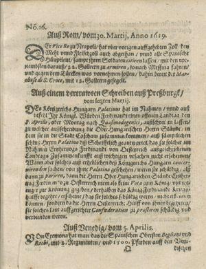Zeitung auß Deutschlandt, Welschlandt, Franckreich, Böhmen, Hungarn, Niederlandt und andern Orten on Apr 29, 1619